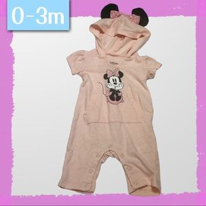 0-3m Pink Minnie Mouse Hooded Romper